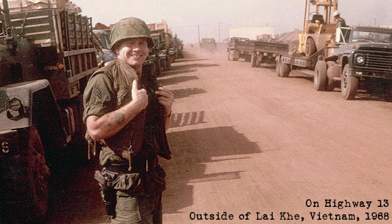 Sgt. Hack on Highway 13 outside of Lai Khe, Vietnam, 1968