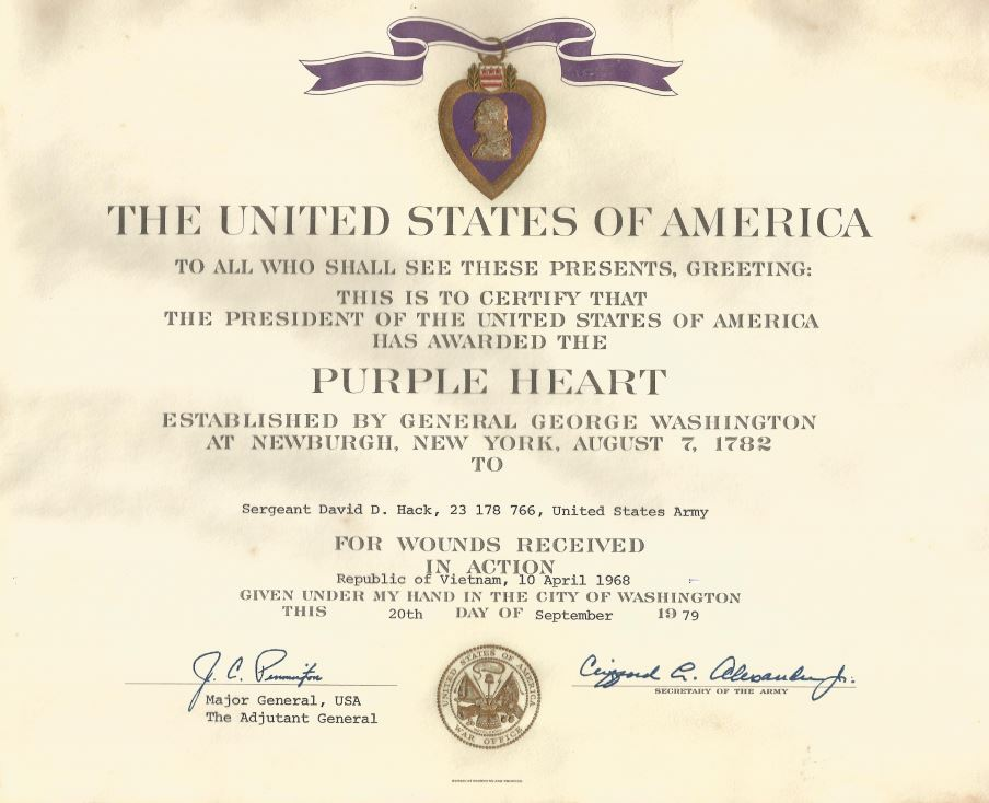 purple heart citation template purple heart award certificate sfc david hack s purple